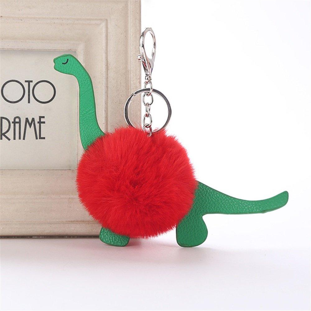 Whyyudan Fashion Porte-clé s Dé coration Porte-clé s en Cuir PU Dinosaure Balle en Peluche Porte-clé s Pendentif en Peluche Porte-clé s (Rouge)