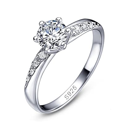 edler Damen-Ring Zirkonia Stein Verlobungsring Solitär-Ring 925 Sterling Silber