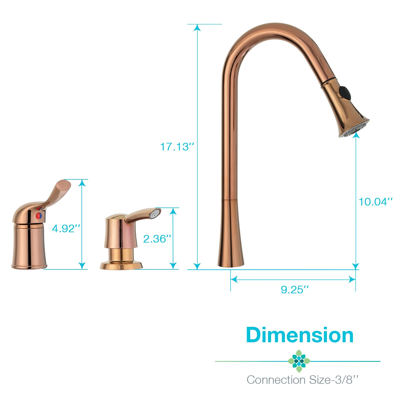 Three Holes Kitchen Sink Faucet with Pull Down Sprayer Rose Gold with Soap Dispenser Single Handle Peppermint