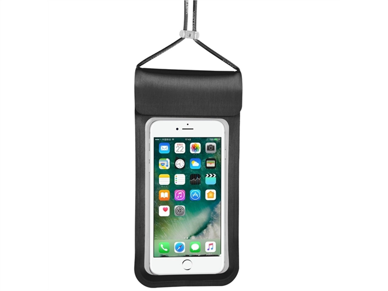 Wesource Good Protecter Portable Lanyard Waterproof Phone Bag Outdoor Beach Mobile Diving Bag for All Smartphones Up To 6.5 Inch(Black)