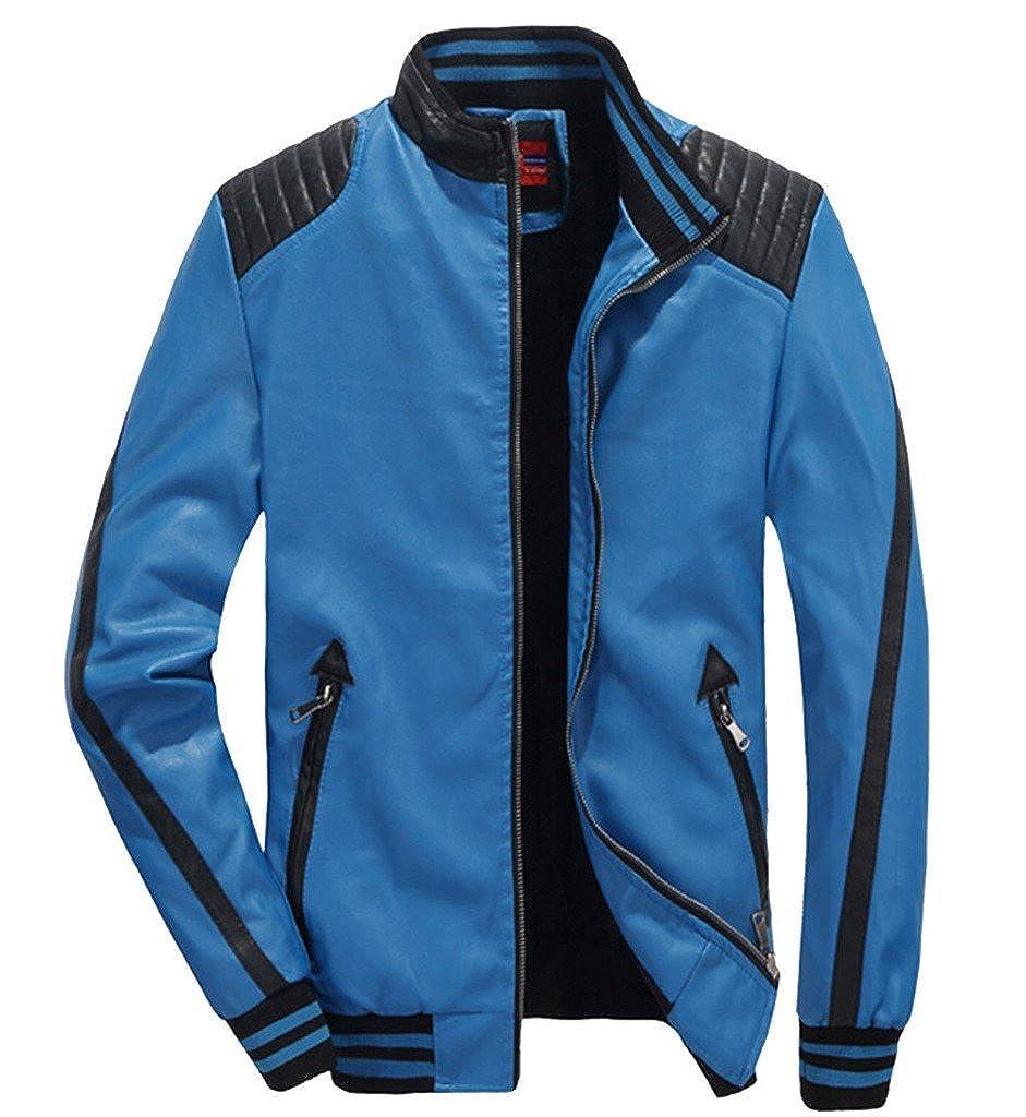 YangguTown YGT Mens Warm Slim Fit PU Leather Bomber Motorcycle Fur Jacket Coat