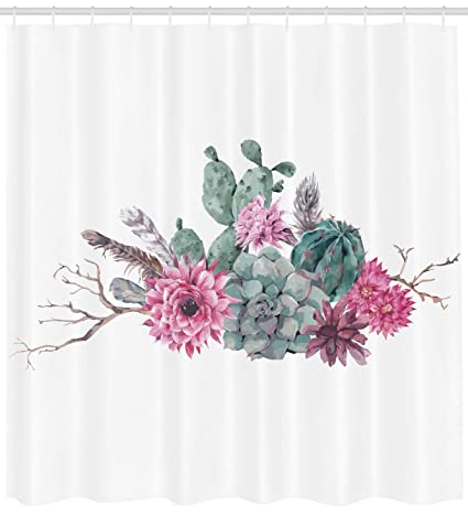 Ambesonne Succulent Shower Curtain By Feathers Flowers Cacti Ethnic Hipster Elements Vintage Fashion Fabric
