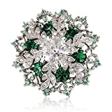 Snowflake Brooch Pin Gift Emerald-Green Colour Crystal Silver Tone For Her