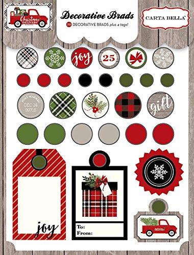 Making Memories Decorative Brads - Carta Bella Paper Company CBCD58020 Christmas Delivery Decorative Brads