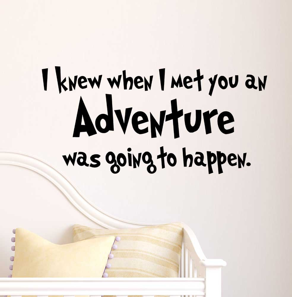 Amazon i knew when i met you an adventure was going to happen amazon i knew when i met you an adventure was going to happen cute nursery wall vinyl decal quote art saying sticker stencil decor home kitchen amipublicfo Image collections