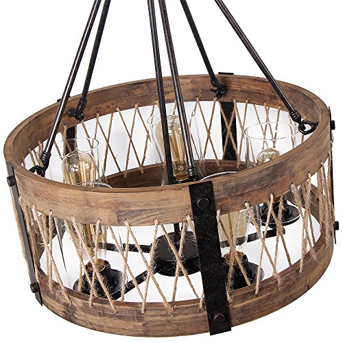 Rustic Lighting Rope Pendant Light Rope Light Wood Beam: Anmytek Round Wooden Chandelier With Clear Glass Shade