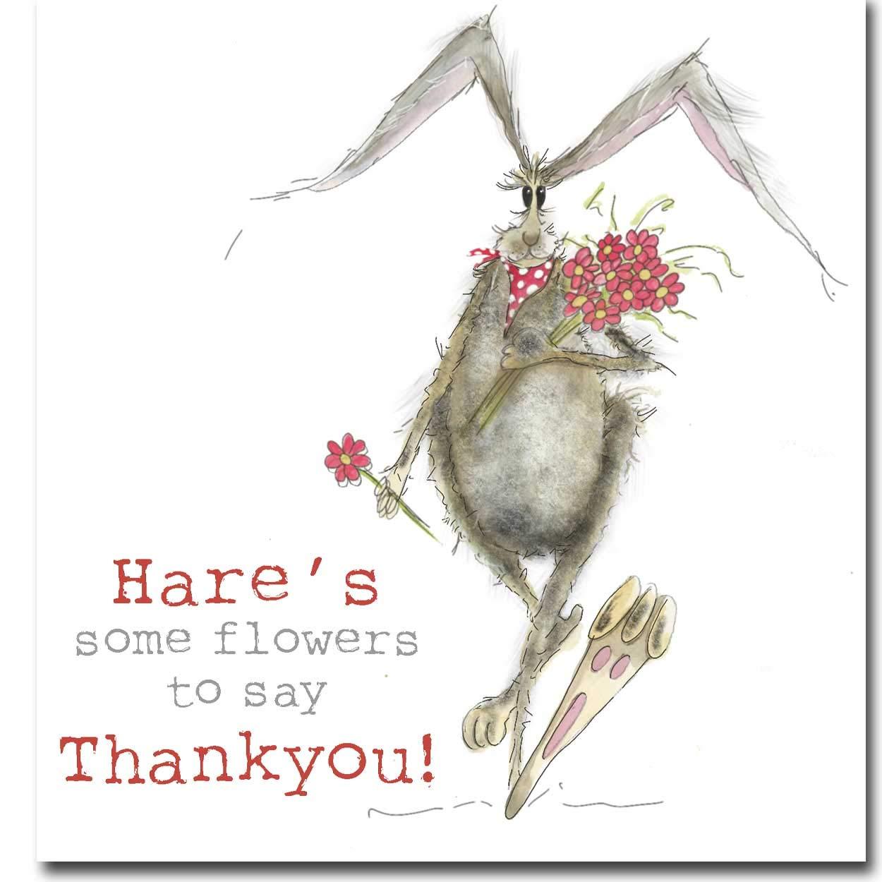 Hare's Some Flowers to say Thankyou! Dankeskarte, blanko, Innenseite