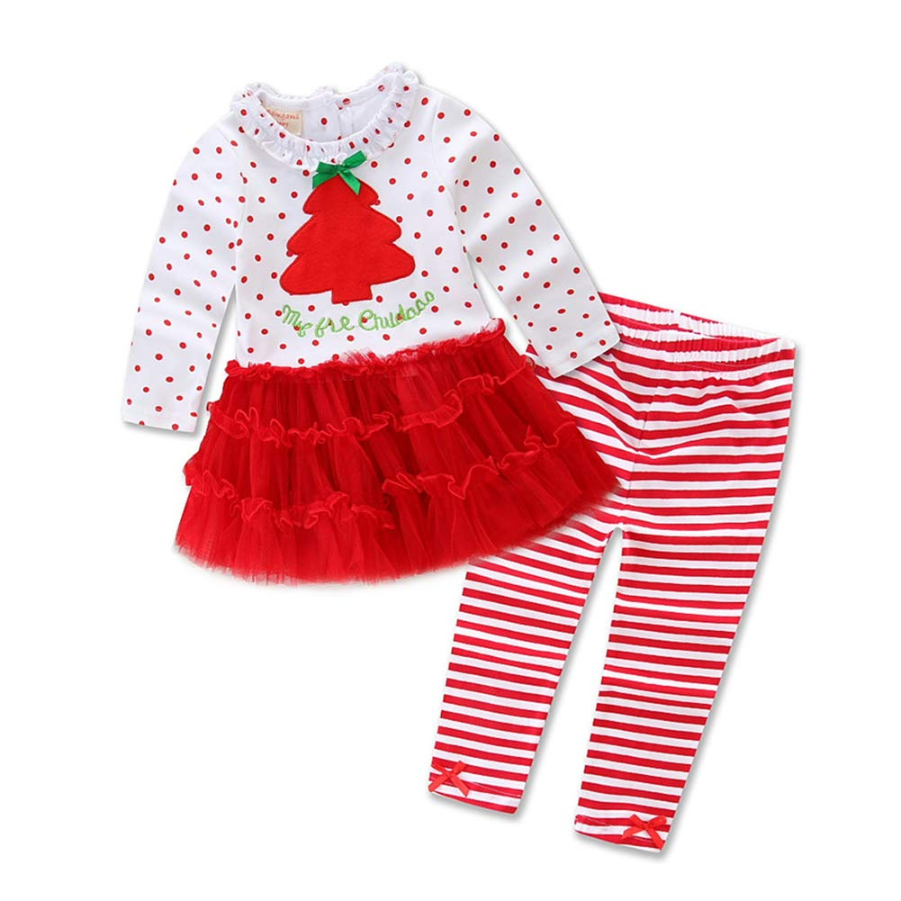 Toddler Baby Girls Christmas Tree Polka Dot Ruffle Tops Stripe Pants Clothes Set