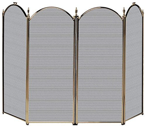 4 Panel Fireplace Screens (UniFlame 4-Fold Polished Brass Screen)