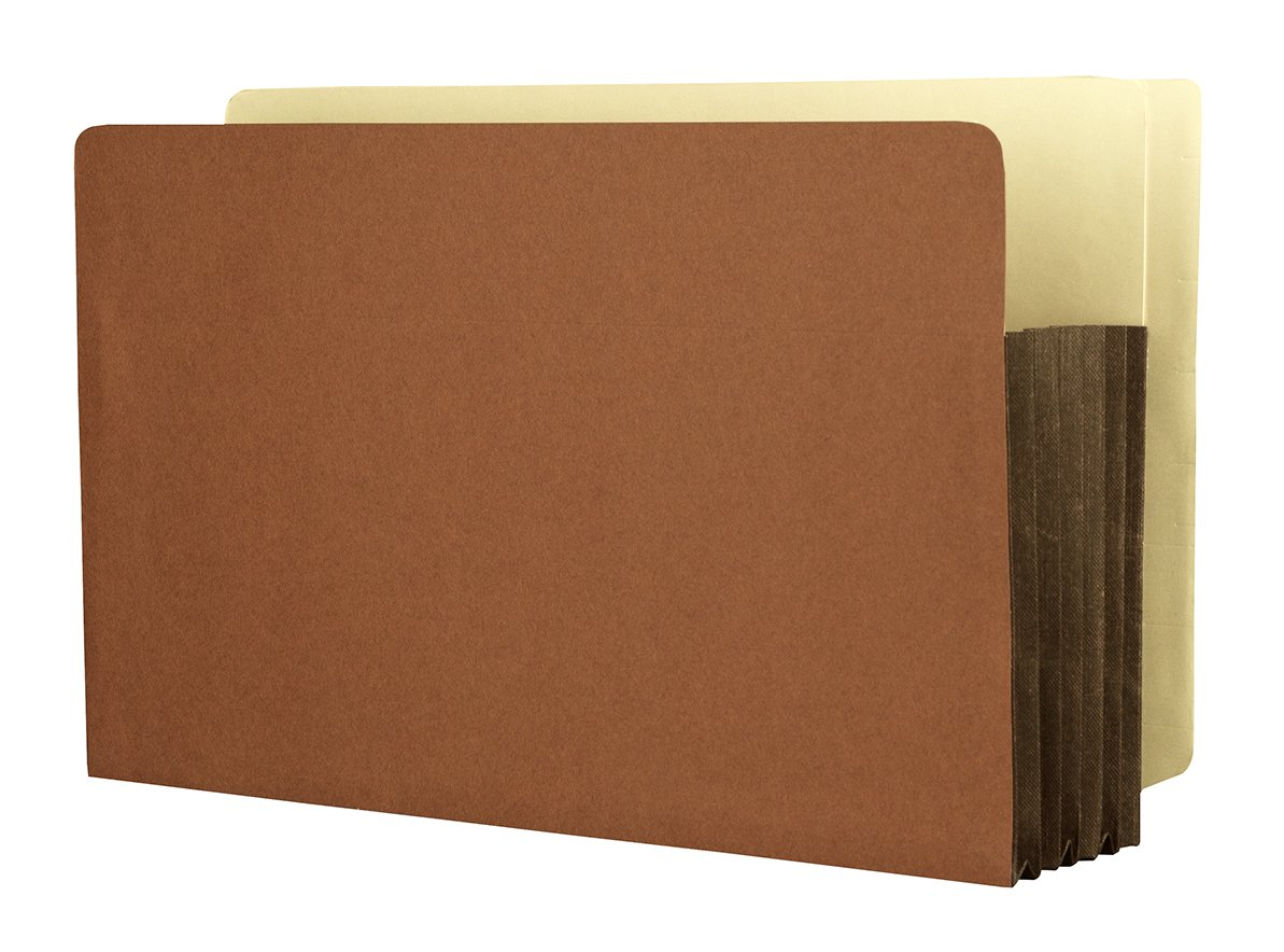 Heavy Duty Side Tab File Pockets, Expanding Legal Size Red Rope 5-1/4'' with Full Tyvek Expansion 50Per Box