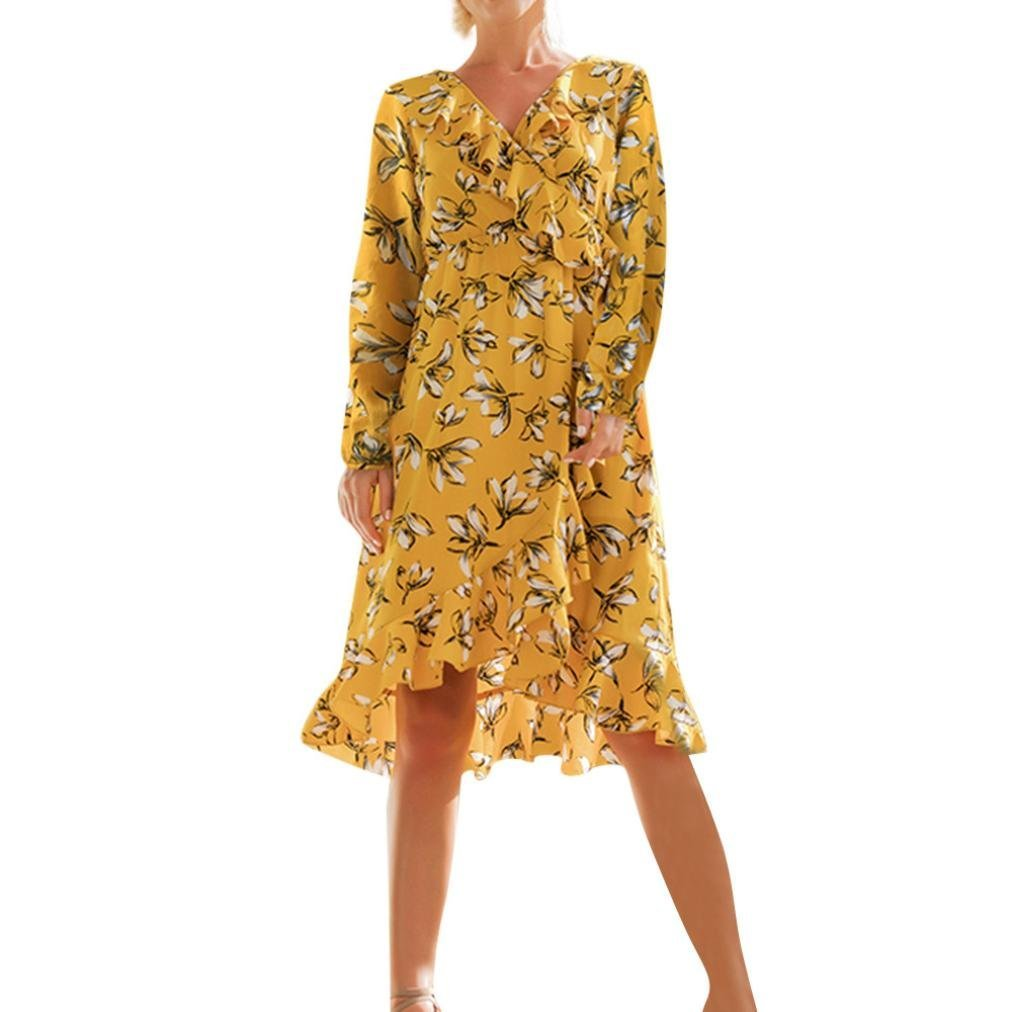 Women Striped Print Floral Deep V-Neck Loose Long Knee Length Boho Dresses (L,Yellow A)