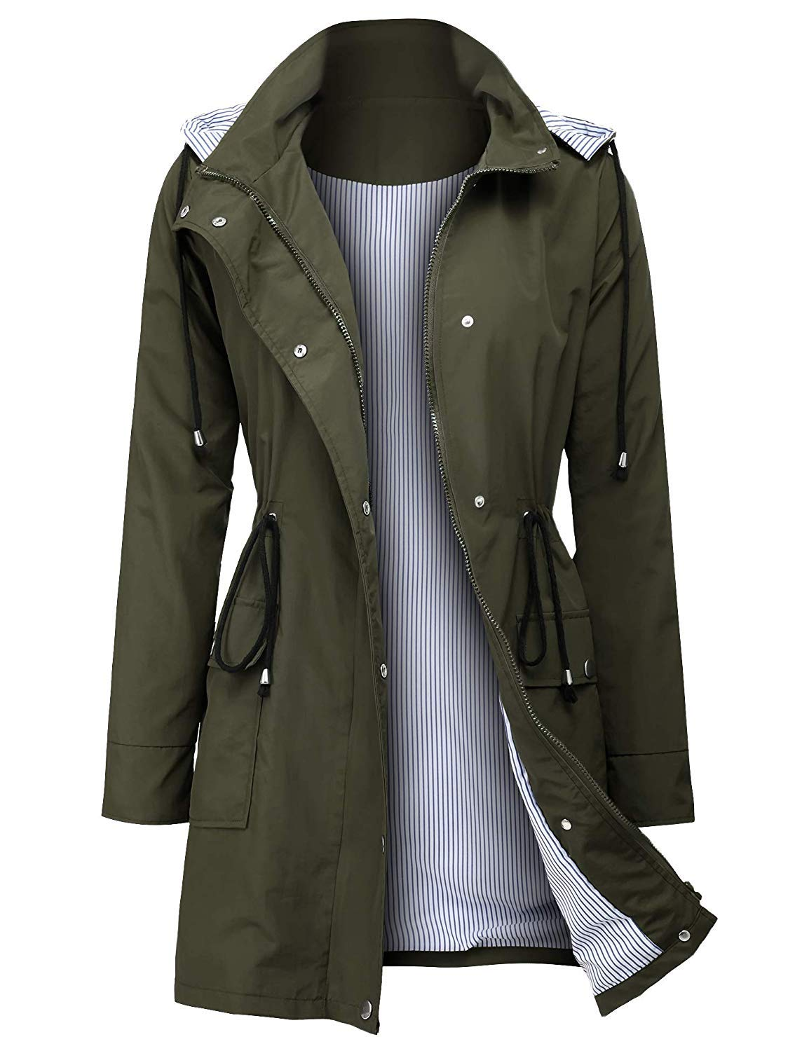 UUANG Waterproof Lightweight Rain Jacket Outdoor Hooded Trench Coat (Green,L) by UUANG