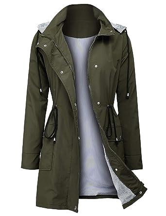 17f4a8743 ZEGOLO Women Rain Jacket Lightweight Hooded Waterproof Active Outdoor Trench  Raincoat