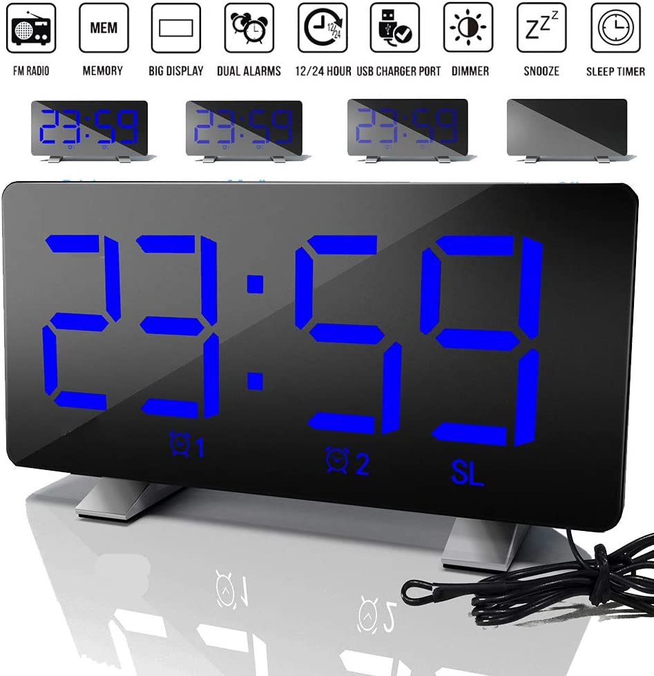 ALLOMN Despertador, FM Despertador Digital Radio FM/Memoria/Pantalla Grande/Alarmas Dobles/12 24H/Puerto de Cargador USB/Atenuador/Posponer/Temporizador de Apagado/3 Brillo de Pantalla (Azul, Radio): Amazon.es: Hogar