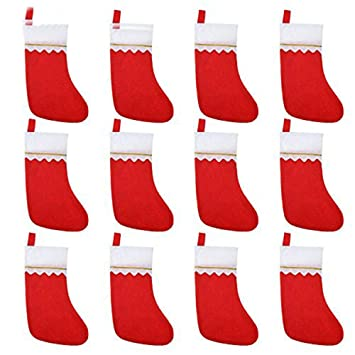 Sohapy - Pack de 12 calcetines de fieltro rojo para Navidad, calcetines de Navidad,