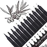 Set of 12 Micro-Pens, Fineliner Ink Pens, Black Drawing Pen, Art Pens, Waterproof,Great for Sketching, Technical Drawing 9021