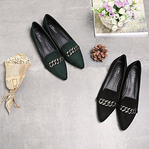 Meeshine Femmes Classique Bout Pointu Ballet Plat En Daim Confort Ballerine Slip On Appartements Noir Daim