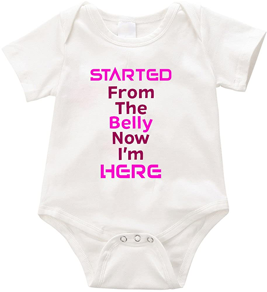 6-12 months, White VRW Started from the belly now im here baby Onesie Romper Bodysuit