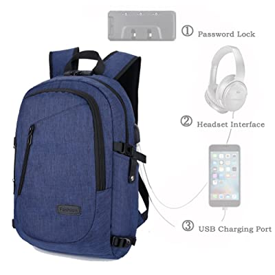 Anti-Theft Business Laptop Backpack with USB Charging Port 15.6 inch, ZCL Men Women Youth Casual Travel Carry-On College School Computer Bag Pack,with Reflective Rain Cover, Navy Blue