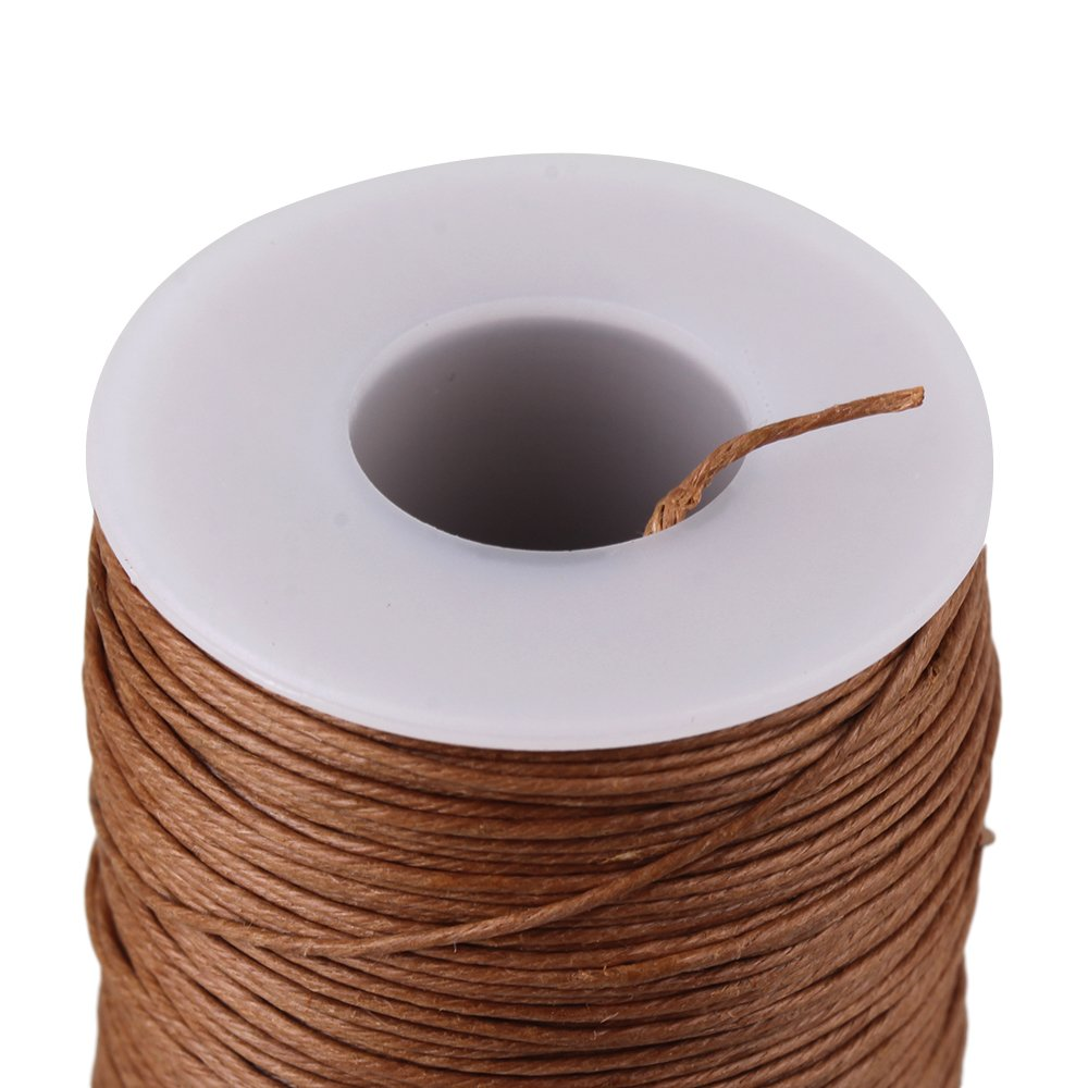 100m Light Brown 0.7mm Dia Ramie Leather Sewing Round Waxed Thread Cord for DIY Handicrafts yqltd