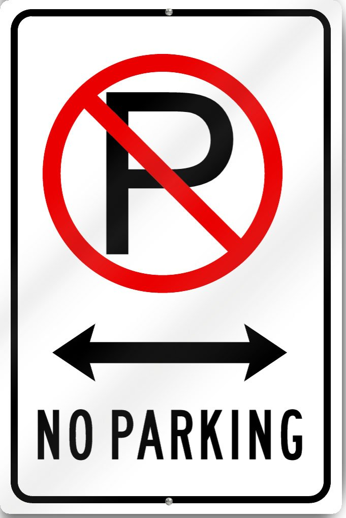 No Parking (Driveway) Sign 12' wide x 18' tall Heavy Gauge Aluminum Reflective SignsToYou.com