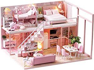 VKStar Pink Girls Dollhouse Miniature DIY Mini Dollhouse with Furniture for Teenagers Birthday Gift House Kit Creative Room Toys with Dust Proof and Music Movement