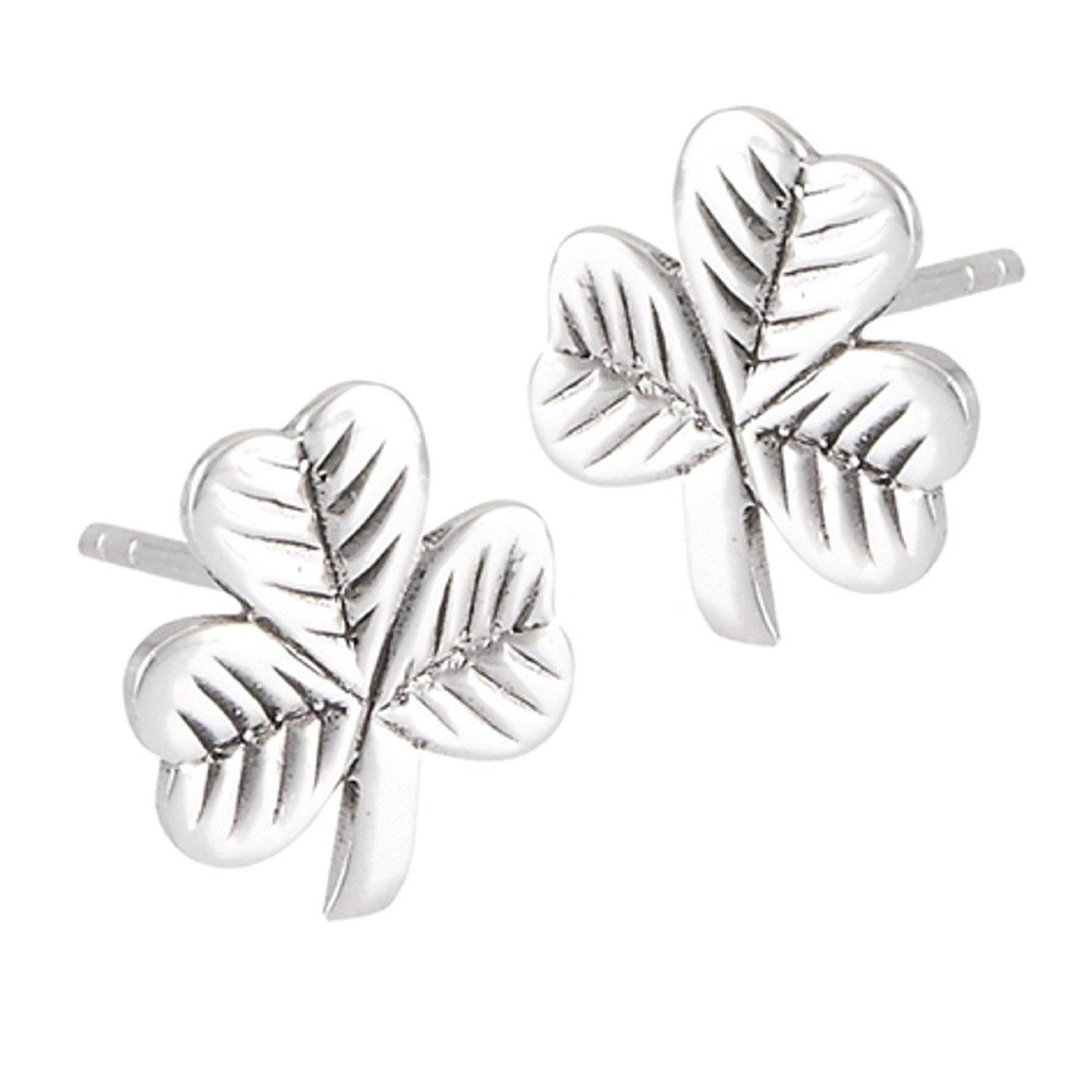 Sterling Silver Shamrock Three 3 Leaf Clover Post Stud Earrings