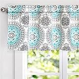 "#7: DriftAway Bella Medallion Pattern Room Darkening Window Curtain Valance, 52""x18"", Aqua/Gray, Rod Pocket"