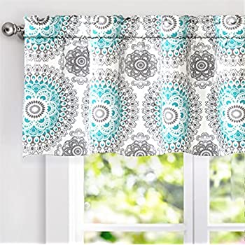 DriftAway Bella Medallion Pattern Room Darkening Window Curtain Valance 52x18 Aqua