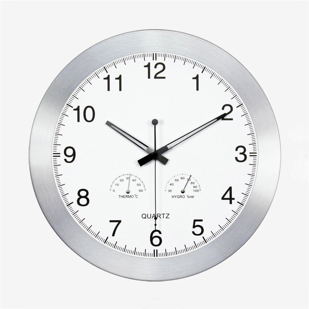 HAOFAY Temperature And Humidity Wall Clock, Non-ticking 14-inch, Round Easy To Read Home / Office / School Clock ( Color : Silver )