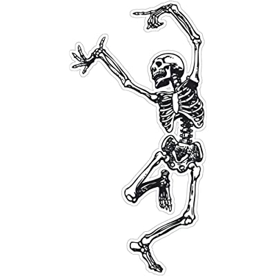 "Grateful Dead Style Dancing Skeleton - Small Bumper Sticker/Decal (3"" X 6""): Arts, Crafts & Sewing"