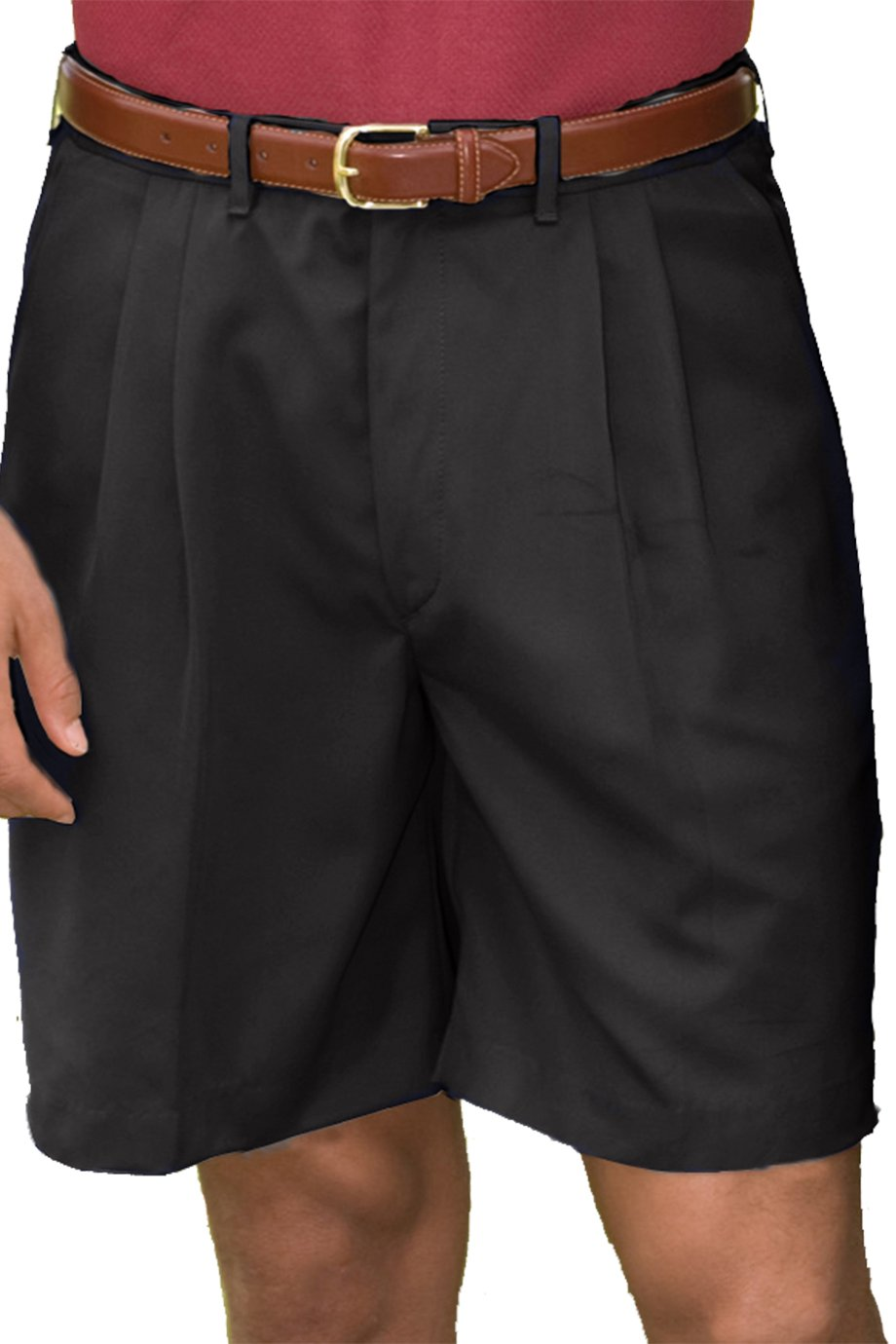 Edwards Garment Men's Pleated Front Soft Touch Shorts_BLACK_44