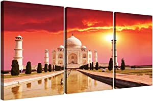 DCVFG 3 Piece Wall Art for Bedroom Decor,Stretched and Framed Ready to Hang,Islamic That Mahal,3 Piece Wall Decor,3 Panel Artwork for Walls,3 Set Picture Wall Art,Creative Gift,16