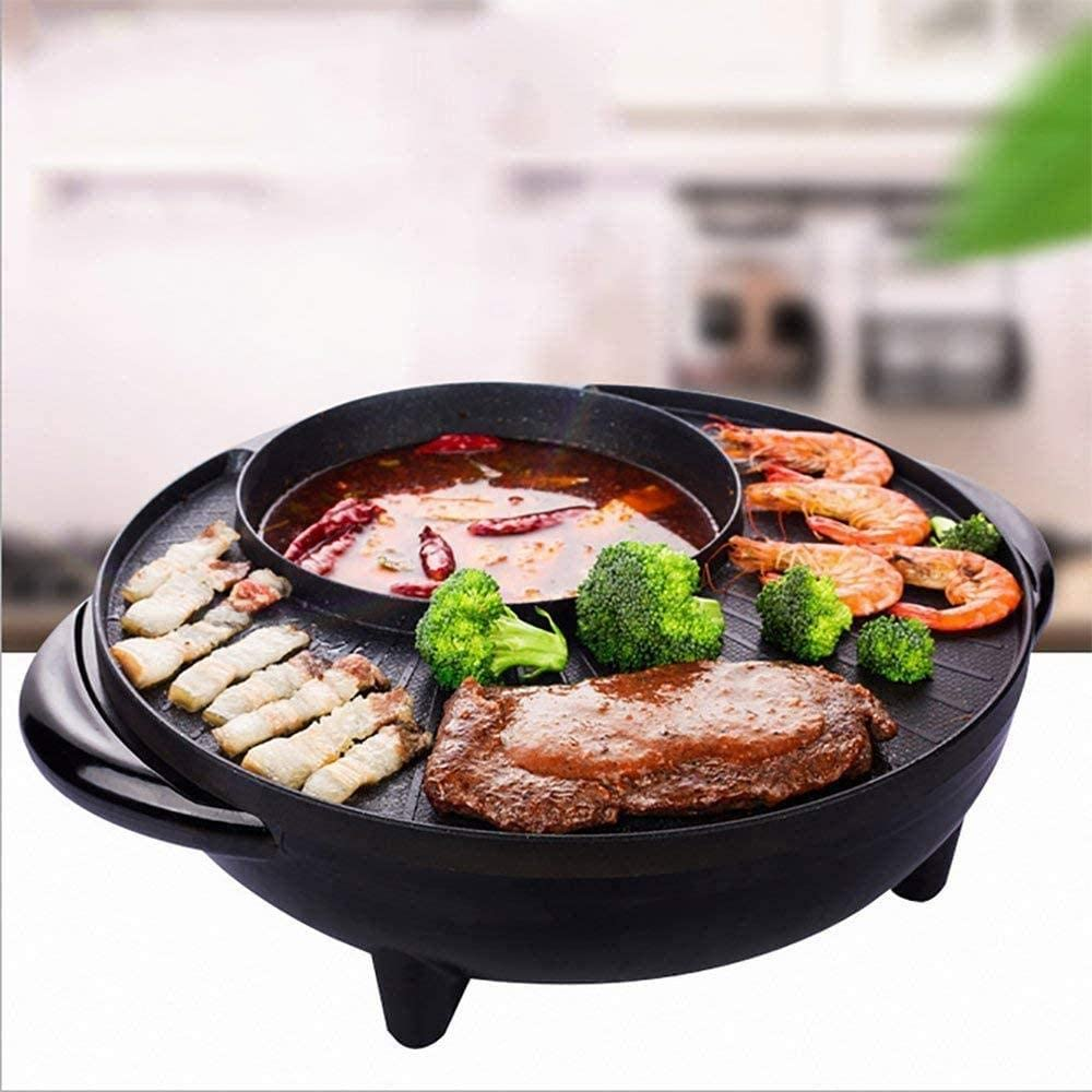 ewrwrwr Barbacoa Estilo Coreano Poke Hot Pot Dual Pot Barbecue Machine Antiadherente Todo Potente Stovetop Grill Eléctrico Multifuncional Bandeja Redonda sin Humo Multifunción Olla Multiusos
