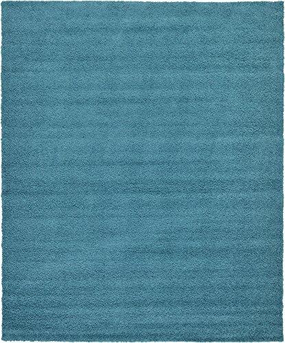 A2Z Rug Cozy Shaggy Collection 12x15-Feet Solid Area Rug - Deep Aqua Blue ()