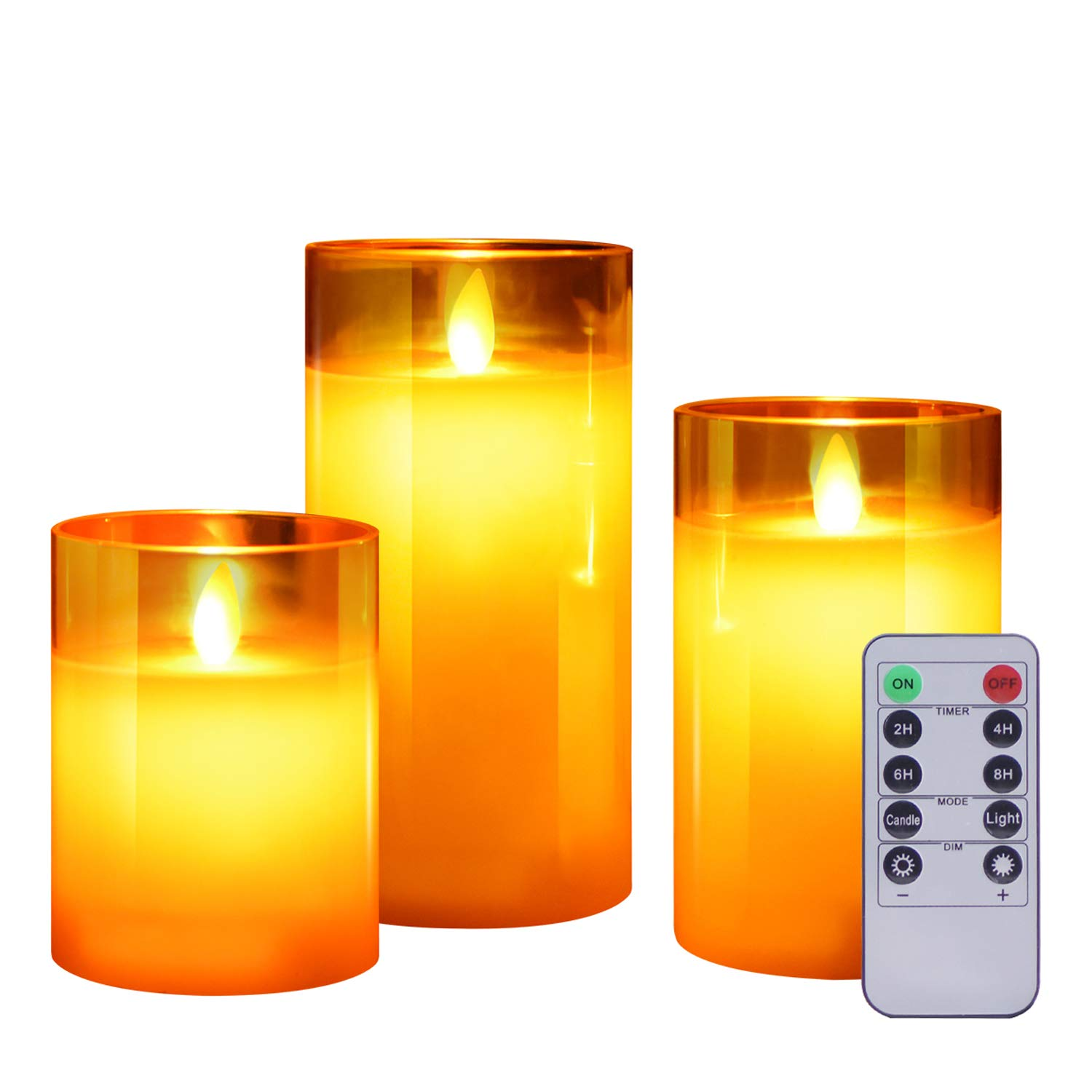 ACROSS Flickering Flameless Candles with Glass Holder, Set of 3(H4\