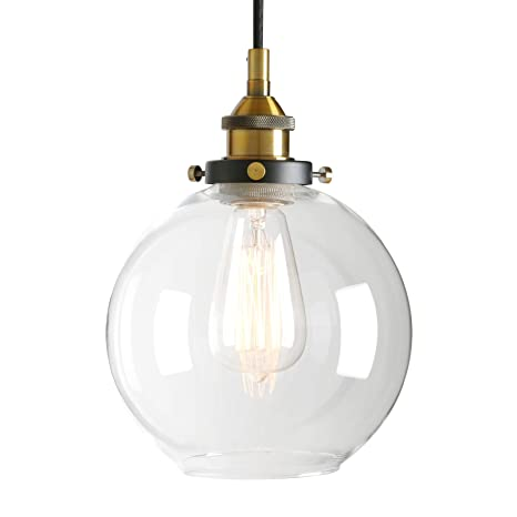 Pathson Retro Kitchen Pendant Lighting, Industrial Antique Brass Hanging  Lamp Fixture with Globe Clear Glass, Adjustable Cord Wire Ceiling Light for  ...