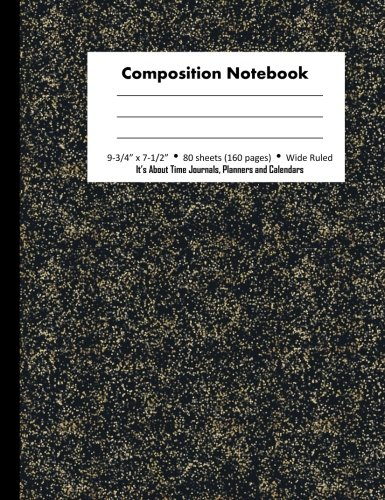 (Composition Notebook: Wide Ruled Specks of Gold (Better than Marble Notebook), 7.5