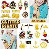 Ooopsi Pirate Temporary Tattoos for Kids - 54 Glitter Styles | Birthday Party Supplies, Pirate Party Favors for Children Kids