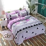 KFZBeddingSetDuvetCoverFlatSheetPillowcaseNoComforter4pcs/SetCQTwinFullQueenKing Night Scenery Flower Flamingo DesignForChildren Adult (Night Clouds,Purple, King, 89'' x98'')