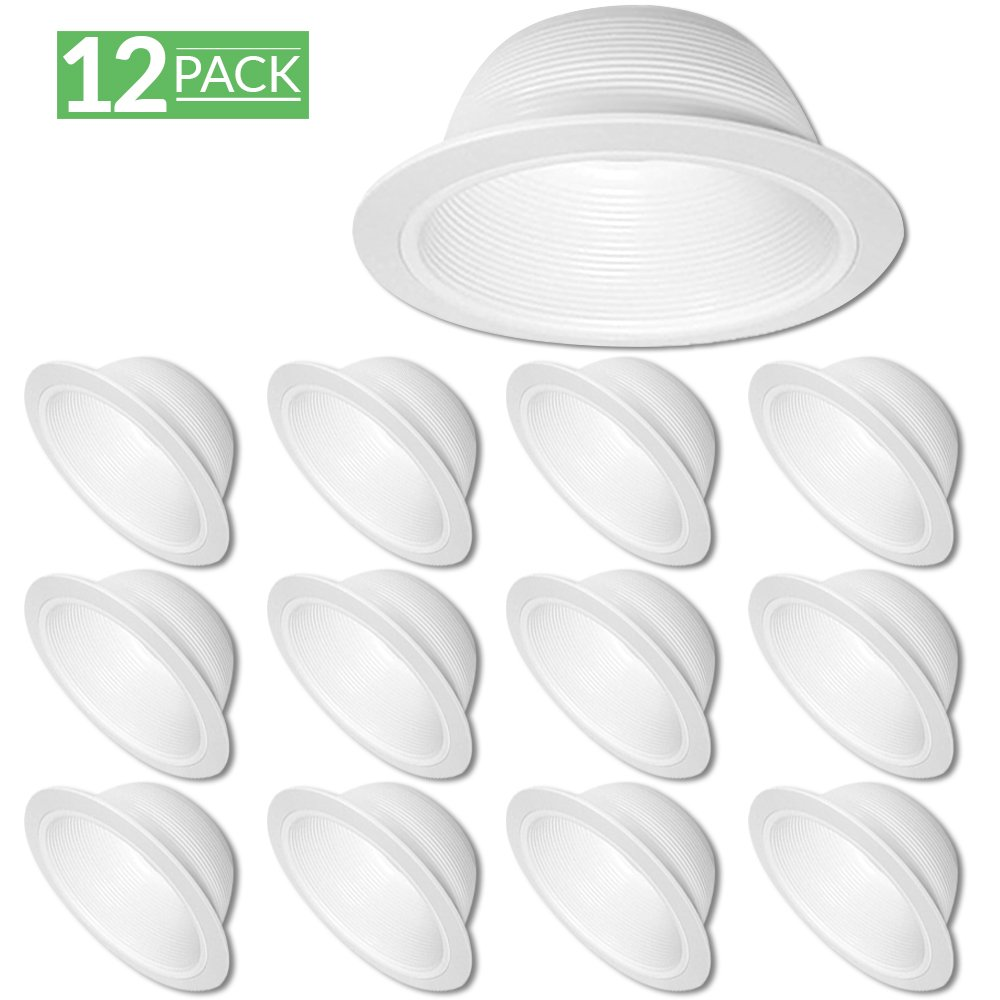 12 Pack - 6'' Inch White Baffle Recessed Can Light Trim
