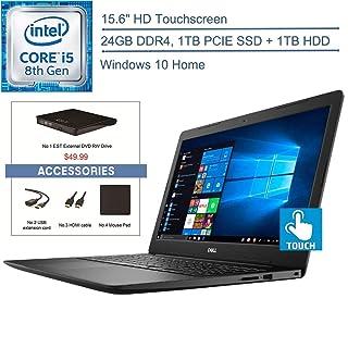 """2020 Dell Inspiron 15.6"""" Touchscreen Laptop Computer, 8th Gen Intel Quad-Core i5-8265U (Beats i7-7500U), 24GB DDR4 RAM, 1TB PCIE SSD + 1TB HDD, AC WiFi, Windows 10, EST USB External DVD + Accessories"""