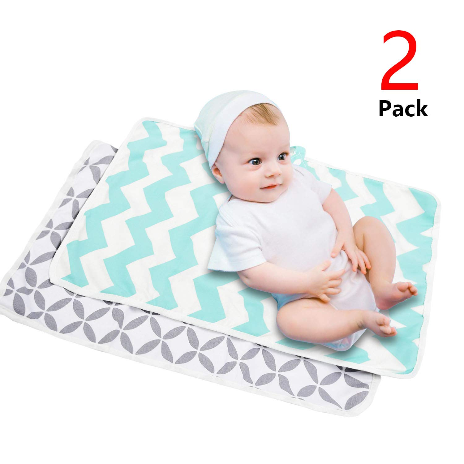 Diaper Changing Pad, Waterproof Pad Baby Portable Changing Mat Travel Mat Station for Home,Travel & Outside Idefair- 2 Pack by AIFUSI