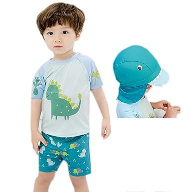 29390947d5af29 Amazon | YUEGUANG 子供 水着上下セット キャップ付 かわいい 恐竜柄 男の子 スイムウェア セパレート UVカット スイミング  プールや海に | 水着 通販