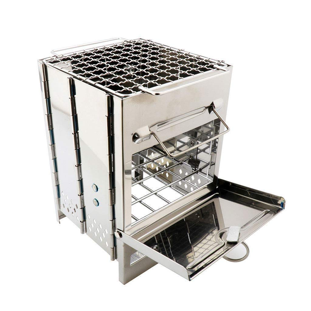 DLINMEI Outdoor Firewood Stove Mini Square Grill Net, Portable Charcoal Stove, Stainless Steel Collapsible Grill BBQ Mini Stove