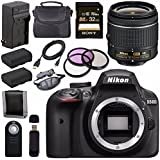 Nikon D3400 DSLR Camera with AF-P 18-55mm VR Lens (Black) + EN-EL14 Replacement Lithium Ion Battery + External Rapid Charger + Sony 32GB SDHC Card + Carrying Case Bundle