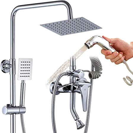 Complete Thermostatic Shower Mixer Chrome Bathroom Exposed Twin Head Valve Set