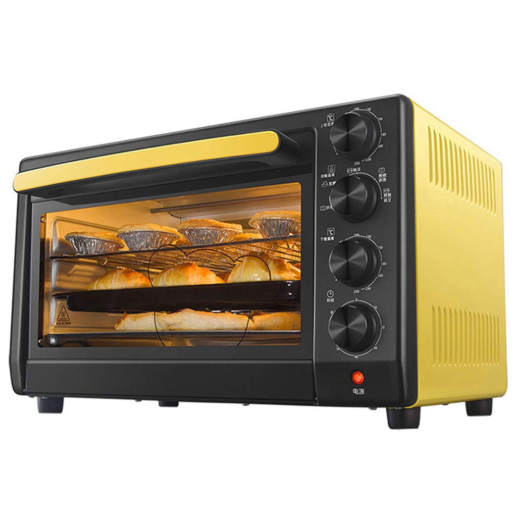 32 Liters Electric Mini Oven 360° Rotation Grilled Fork Four Tube Fever,35~55 °C Dough Fermentation,Adjustable Temperature/Timing And Function Selection,Yellow