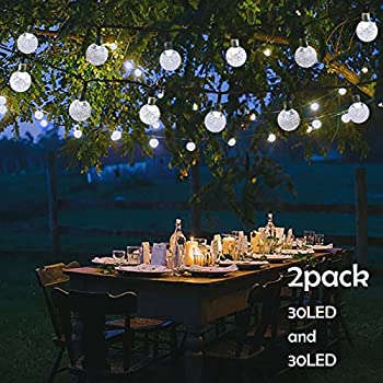 Lalapao 2 Pack Globe String Lights Solar Powered Christmas Lights 30 LED 19.7ft Crystal Ball & Waterproof Solar String Lights Outdoor 20ft 30 LED Crystal Ball ...