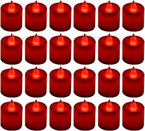 LANKER 24 Pack Flameless Led Tea Lights Candles - Flickering Battery Operated Electronic Fake Candles – Decorations for Wedding, Party, Christmas, Halloween and Festival Celebration (Red)